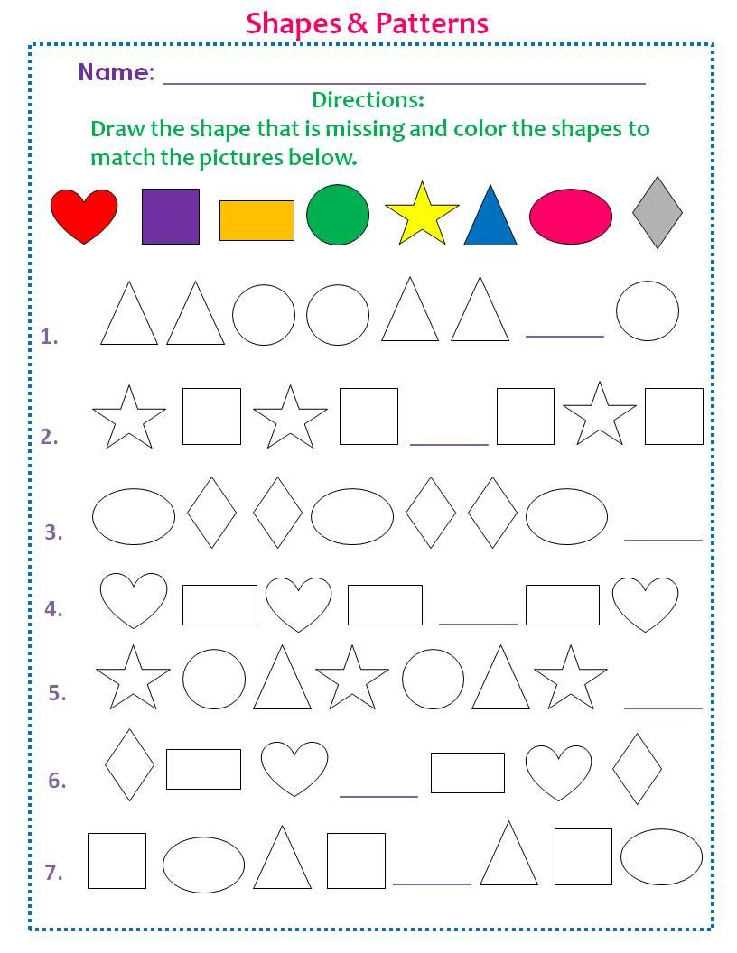 Coloring shapes worksheet - Students Will Learn How To Recognize Patterns Match Colors And Develop Their Fine Motor Skills By Tracing Cutting Out Shapes Worksheet Finish The