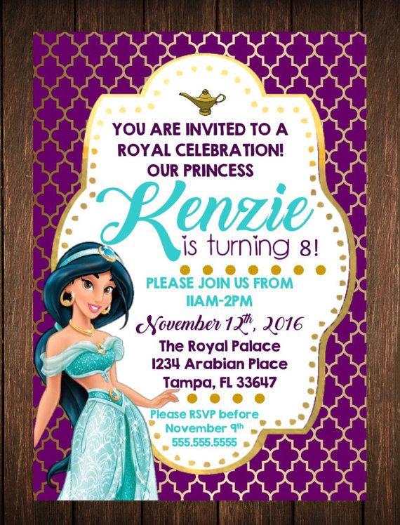 Princess Jasmine Birthday Invitation Free Thank You Card