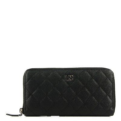2f634672ddfb CHANEL Caviar Quilted Large Gusset Zip Around Wallet Black 120057 https   t.