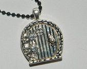 Fairy Hobbit REAL LOCKET Necklace Door Round Pewter