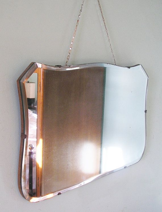 Vintage Art Deco Bevelled Glass Mirror, How To Hang Vintage Mirror On Chain