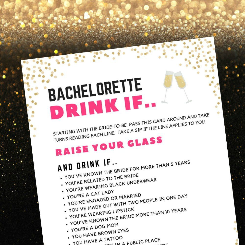 Drink If Game For Bachelorette Parties Naughty Bachelorette