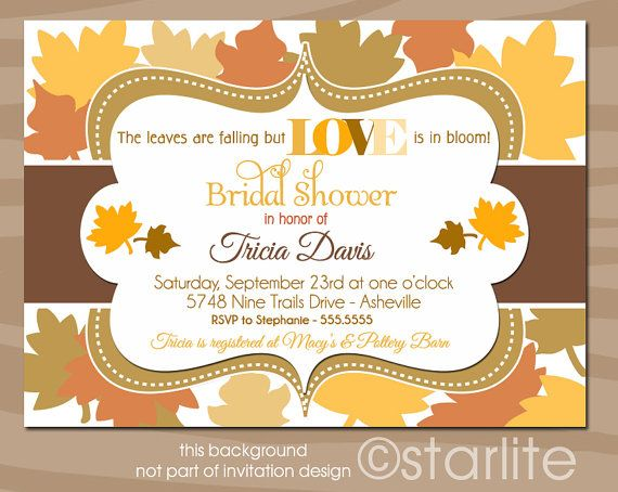 Autumn Leaves - Bridal Shower Invitation - Fall Leaves theme ...
