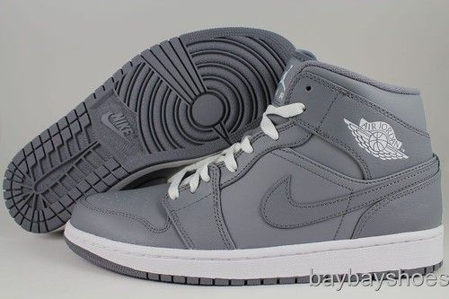 cheap for discount fe756 6a0b3 Nike Air Jordan 1 Mid GS Cool Gray White Phat Hi High Women Boys Kids Youth  Size  eBay