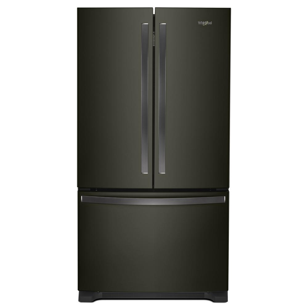 Whirlpool 20 Cu Ft French Door Refrigerator In Fingerprint Resistant Black Stainless With Internal Water Dispenser Counter Depth Wrf540cwhv The Home Depot In 2020 French Door Refrigerator Counter Depth French Door