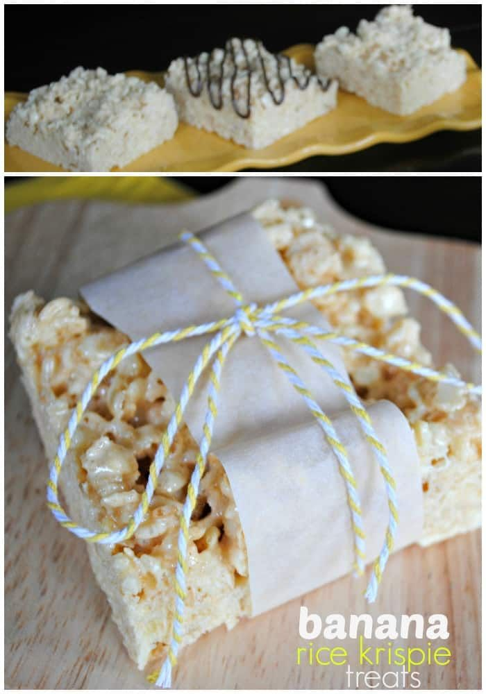 Banana Rice Krispie Treats: flavored with JELL-O pudding mix! An easy, versatile treat. #ricekrispiestreats