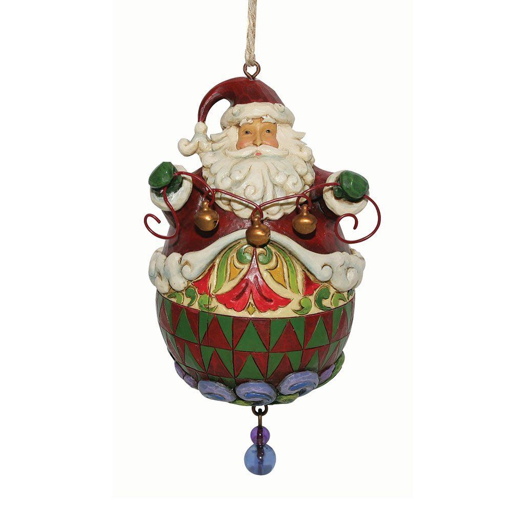 Roly poly santa with string of bells hanging ornament heartwood creek pinterest le 39 veon - String ornaments christmas ...