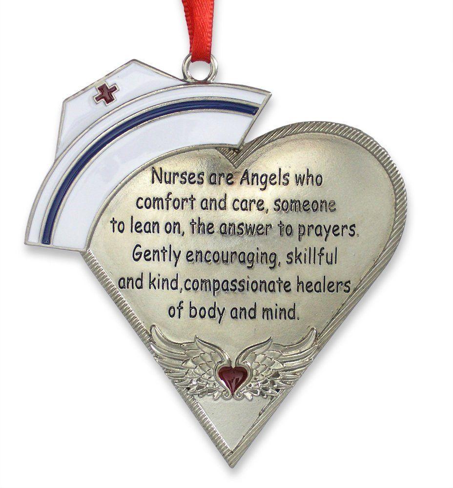 Nurse Heart Shaped Ornament with Poem  Silver metal Angel wings