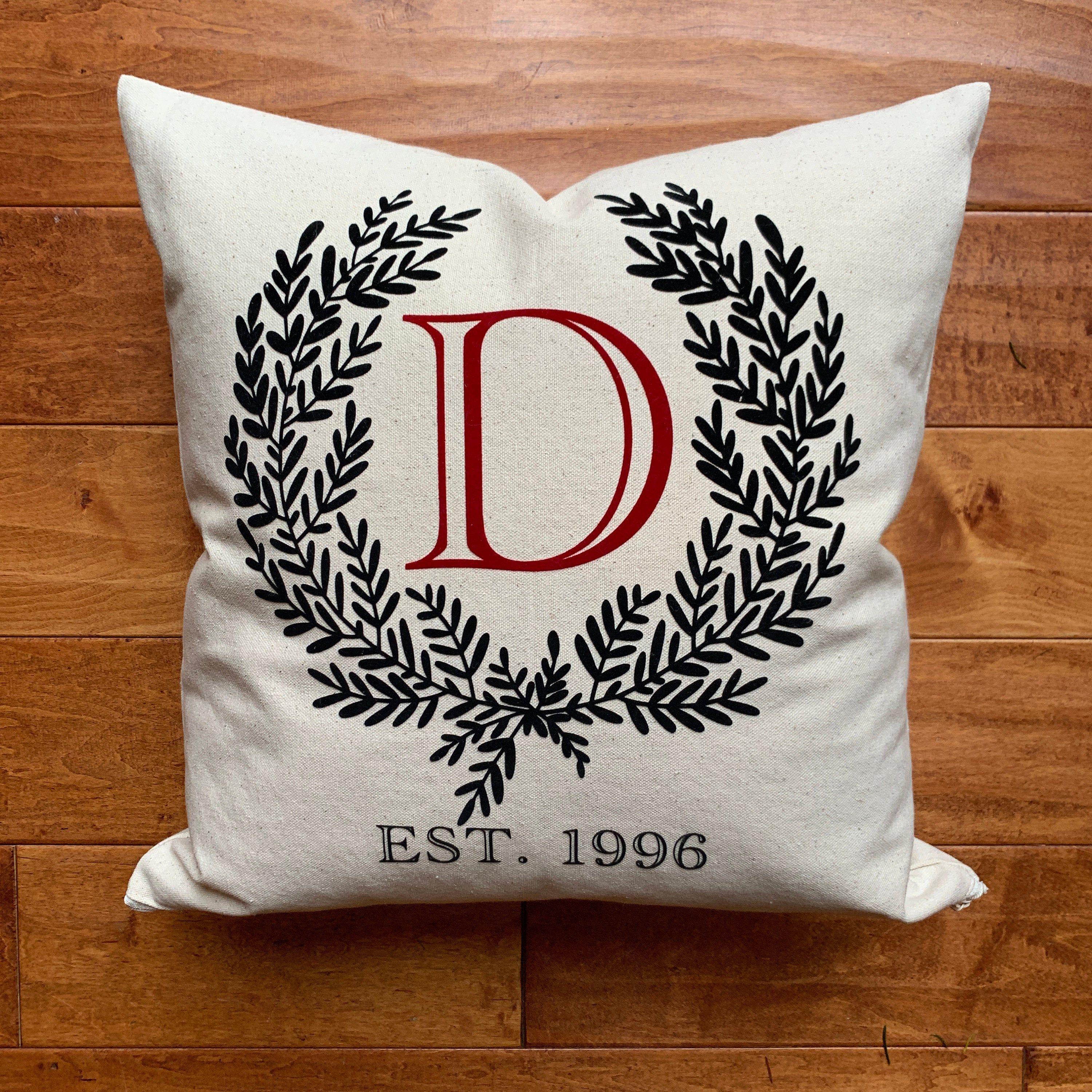 Canvas Monogram Anniversary Pillow Cover, modern farmhouse