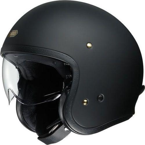 Shoei J O Jo Classic Retro Scrambler Open Face Matt Black Motorcycle Helmet Open Face Helmets Open Face Motorcycle Helmets Helmet