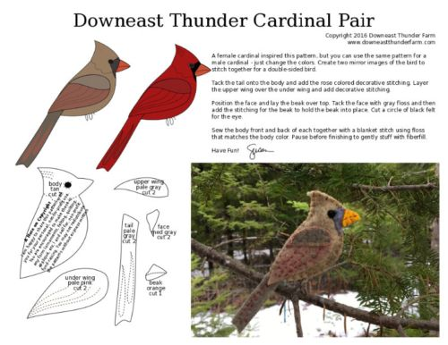A Canty Cardinal Pair | Felt birds, Felt christmas ...