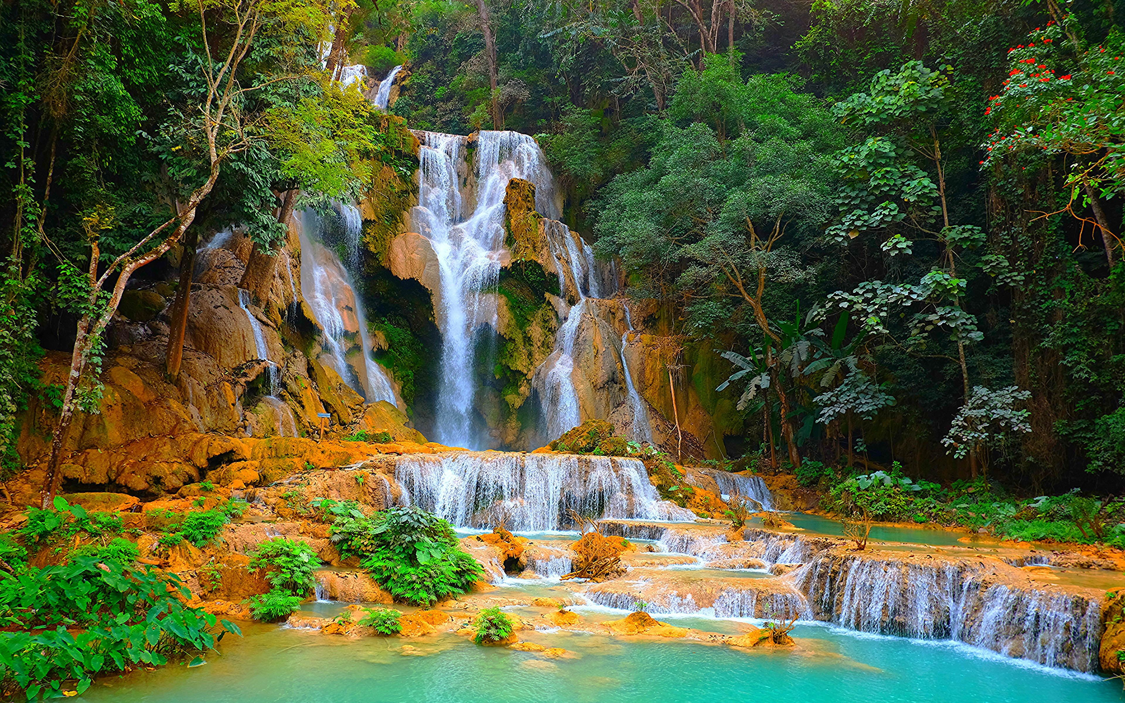 Kuang Si Falls Or Tat Kuang Si Waterfalls In Laos Crag Ultra Hd Wallpapers For Mobile Laptop And Tablet 384 In 2020 Beautiful Landscape Wallpaper Laos Travel Waterfall