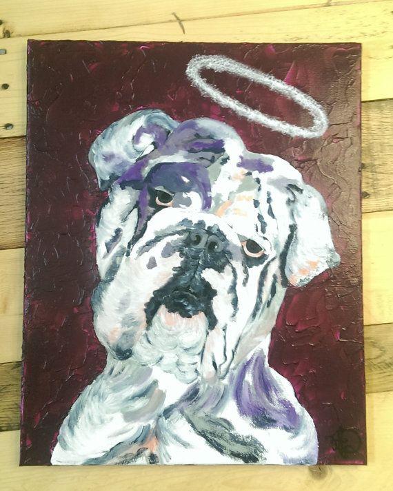English bulldog painting Angel original by AudreyPetPortraits