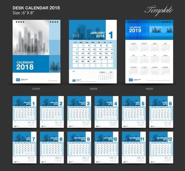 Plantilla calendario 2018 azul para escritorio | kike | Pinterest ...