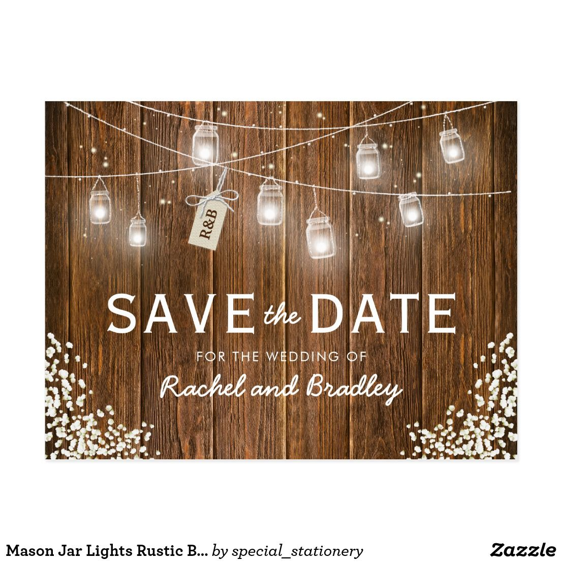 Mason Jar Lights Rustic Babys Breath Save The Date Postcard