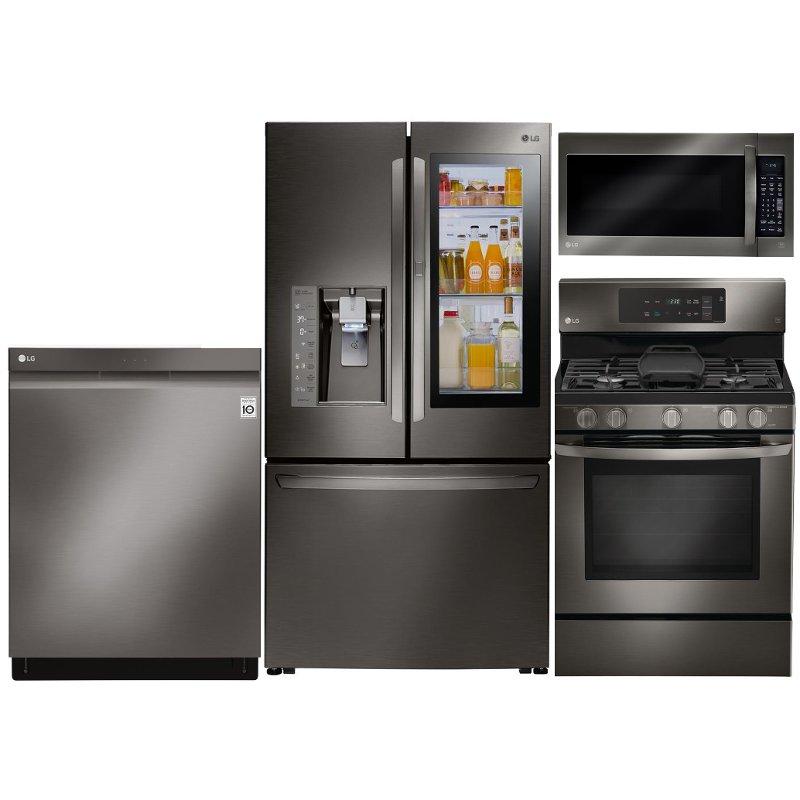 Lg 4 Piece Kitchen Appliance Package With 5 4 Cu Ft Gas Range Black Stainless Steel Kitchen Appliance Packages Kitchen Appliances Built In Dishwasher