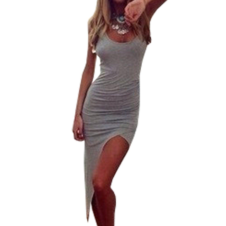 SUNNOW® NEU sexy Damen Sommerkleid Partykleid Abendmode Rundhals Ausschnitt Pakethüfte rückenfrei Nachtklub-Kleid unregelmäßig Rock Frauen Cocktailkleid modisch