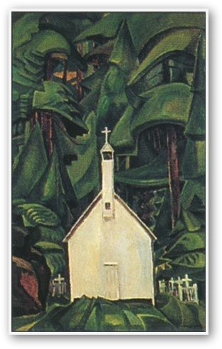 """Emily Carr (Canadian): title unknown [white church in forest], medium unknown. Close association with, """"The Group of Seven""""."""