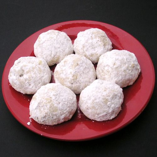 mexican wedding cake cookies aka pecan balls aka russian teacakes however there is nothing russian about them they dont have pecans in russia