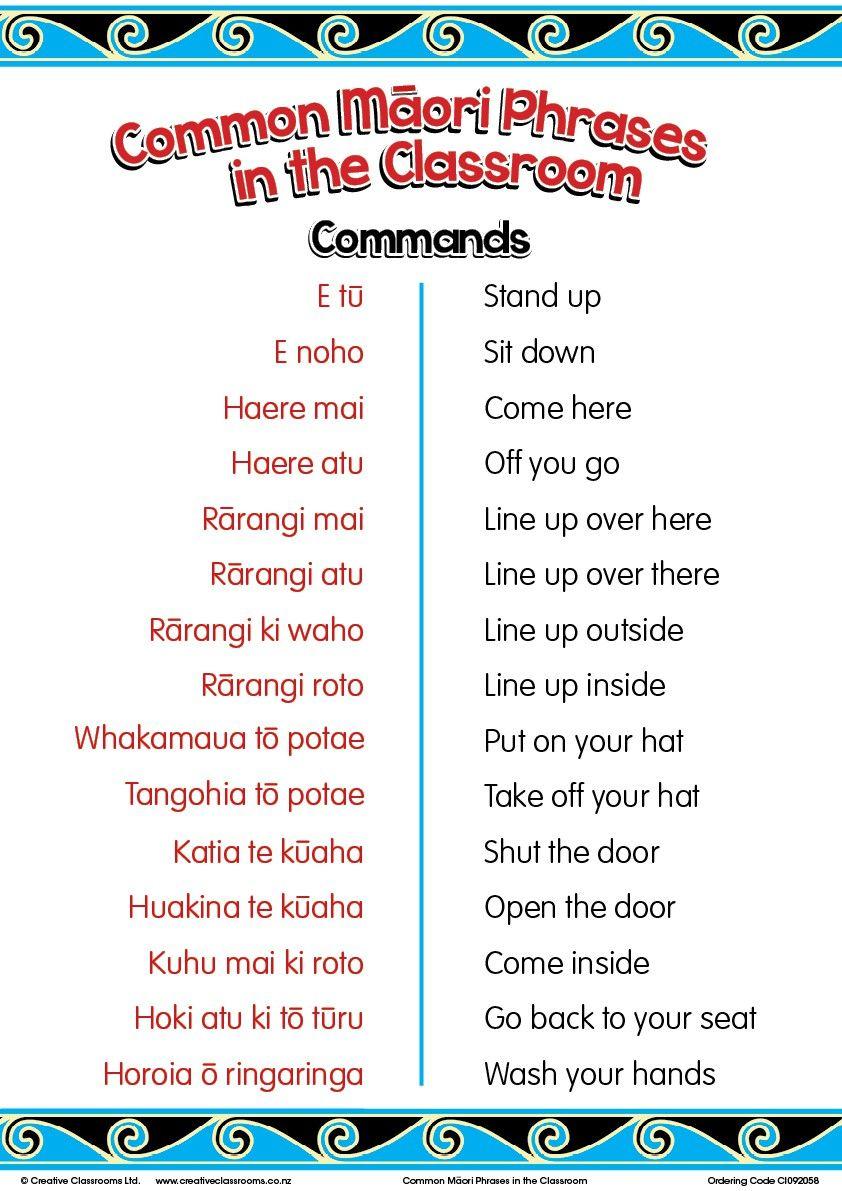 Common Maori Classroom Phrases Charts Art Projects Pinterest