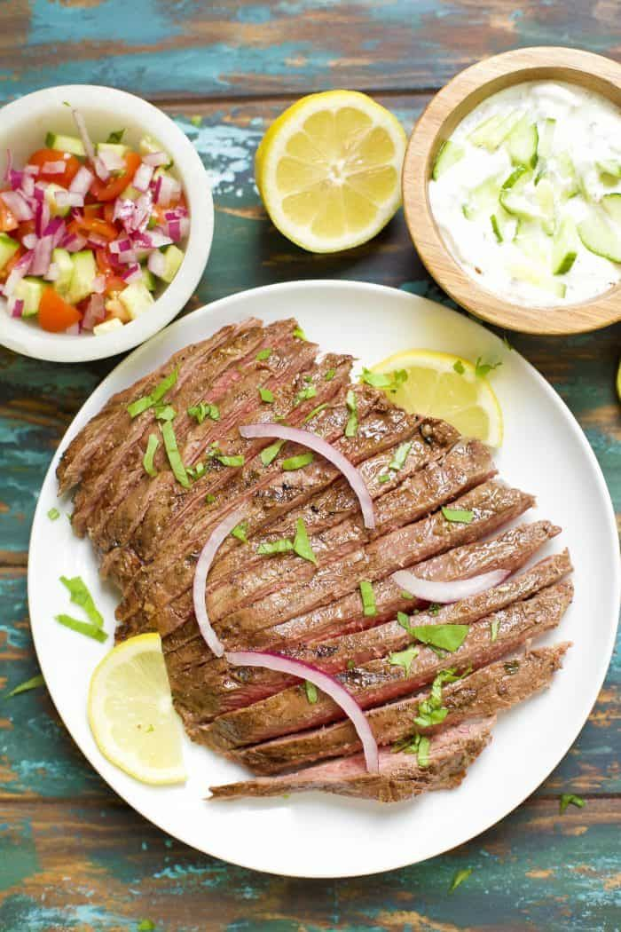 Greek Marinated Flank Steak with Tzatziki #recipesforflanksteak