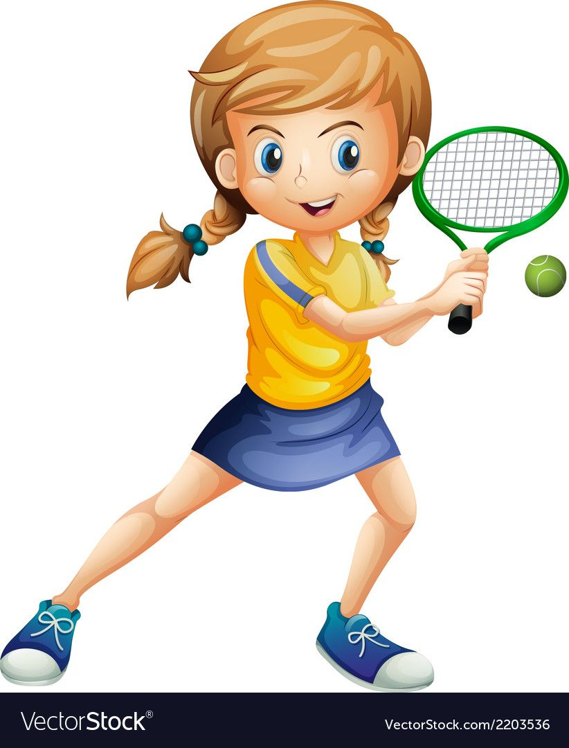 A Pretty Lady Playing Tennis Vector Image On Vectorstock Clip Art Kids Clipart Kids Sports