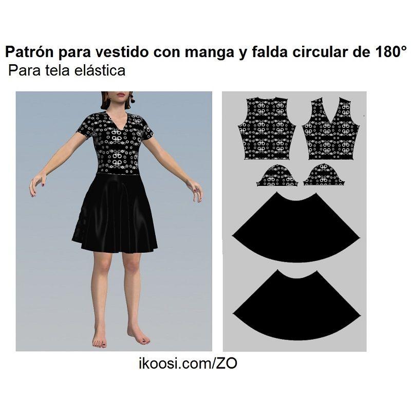 Vestido de tela elástica con falda circular | costura | Pinterest ...
