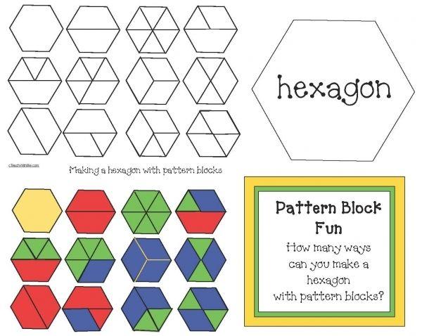 Pattern Block Hexagons Pattern Blocks Activities Math Patterns Pattern Blocks Pattern block fraction worksheets