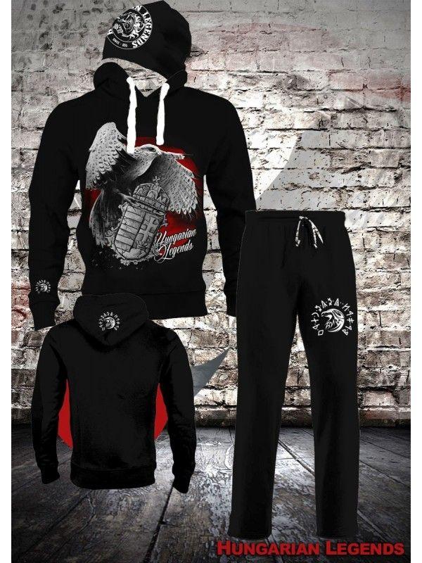 Sólyom címerrel - szett, belebújós pulóver, melegítő nadrág, sapka