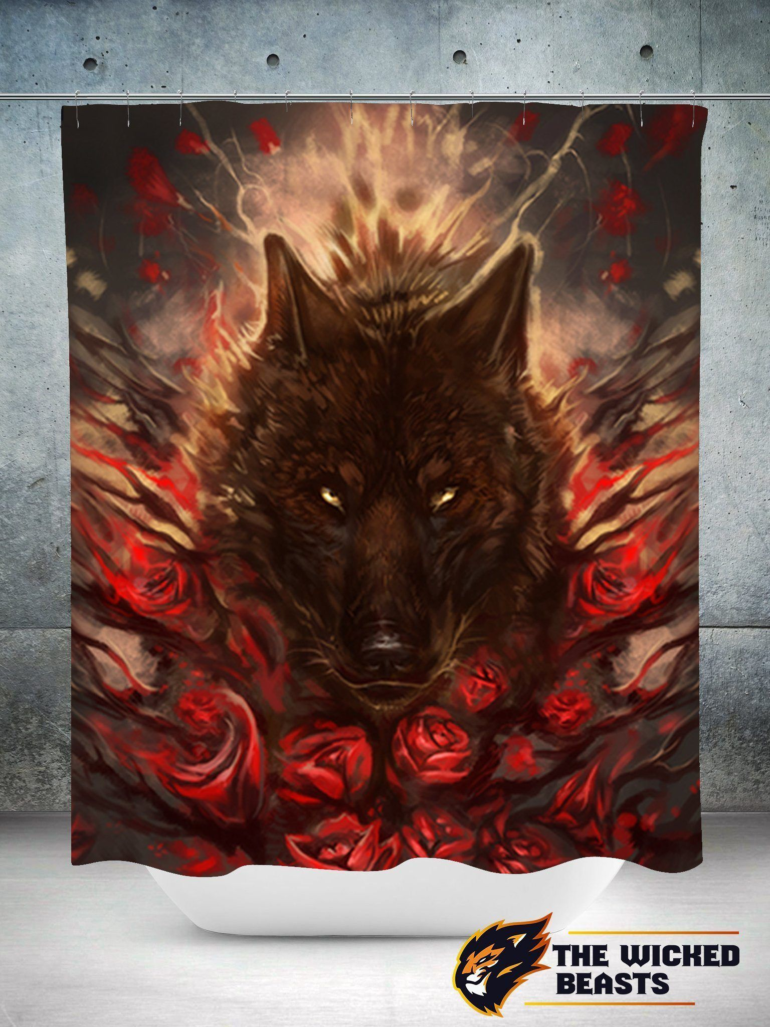 Pinturas Angar The Bloody Roses Shower Curtain Products Wolf Artwork Wolf