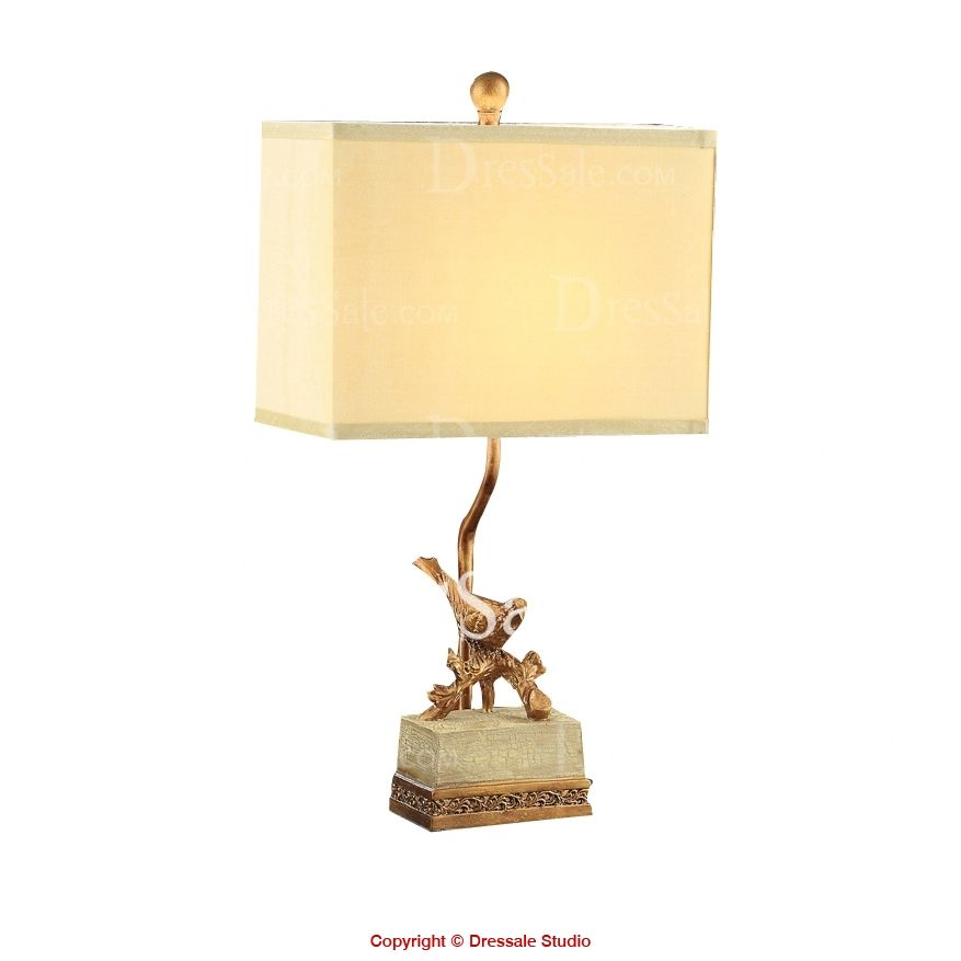 Bird Theme Rectangle Fabric Shade Resin Original Table Lamp In Whimsical Style Fabric Shades Lamp Table Lamp
