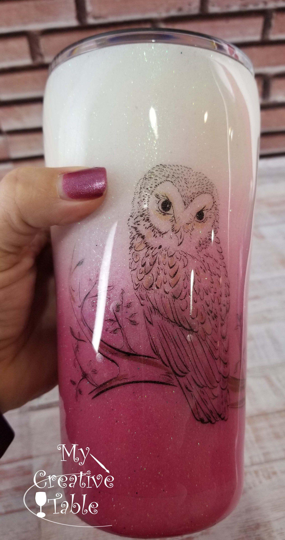 Glitter Tumbler, Coffee Tumbler with Lid, Owl Coff