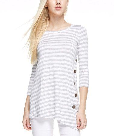 Look at this #zulilyfind! Light Grey Stripe Button Tee #zulilyfinds