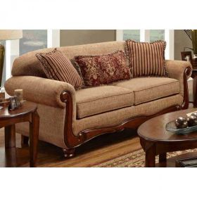 Furniture Warehouse Virtual Umber Sofa With Wood Trim