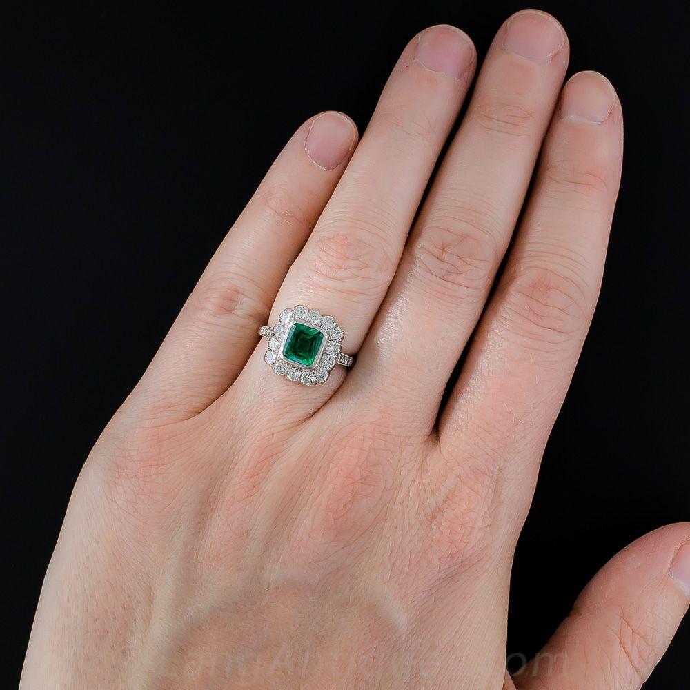 1.25 Carat Emerald, Platinum and Diamond Ring - 30-1-7087 - Lang ...
