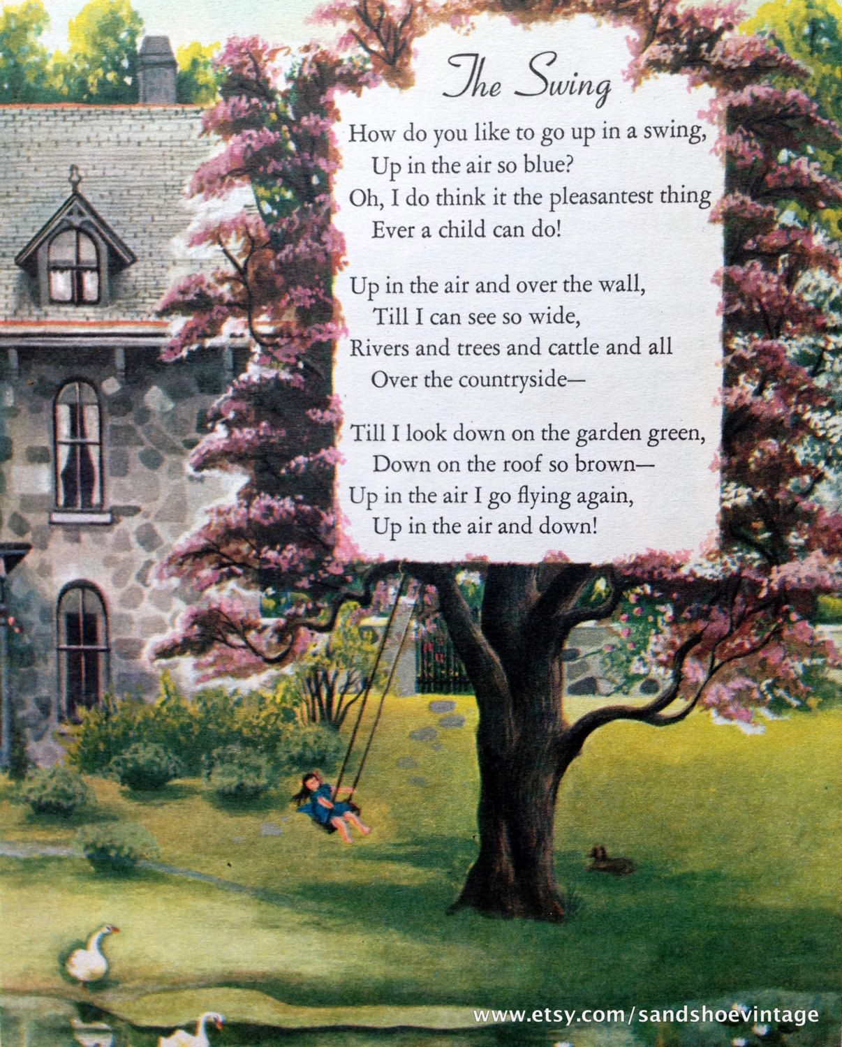 S the swing poem print ideal for framing