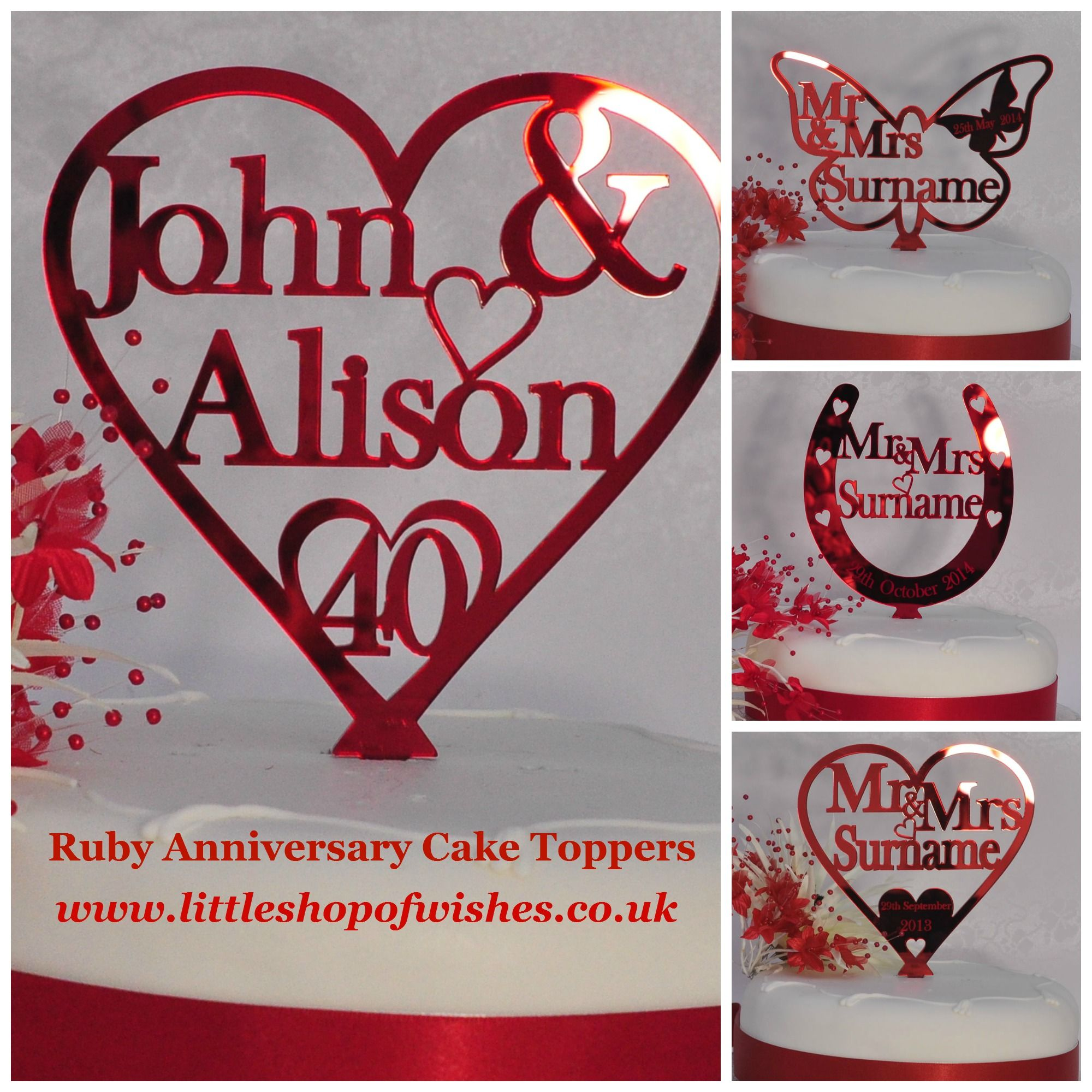 Stuck For A Ruby Anniversary Idea These Pretty Cake Toppers