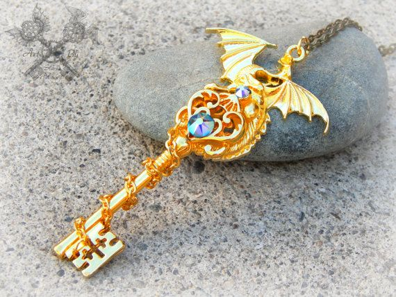 Dragon Necklace Dragon Jewelry Fantasy Jewelry Key Necklace