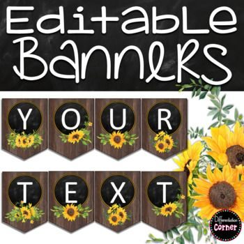 Editable Farmhouse Classroom Decor Banners #elementaryclassroomdecor