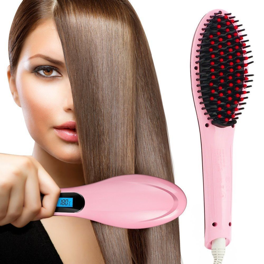 Hot Hair Straightener Brush Comb Hair Care Curling Iron Wand Curler