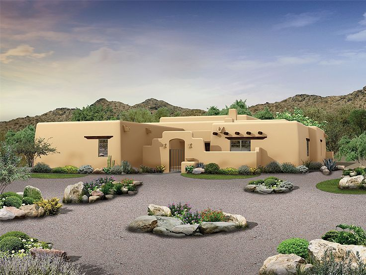 057h 0039 Adobe House Plan Offers 3 Bedrooms 2276 Sf Mediterranean Style House Plans Pueblo House Southwest House