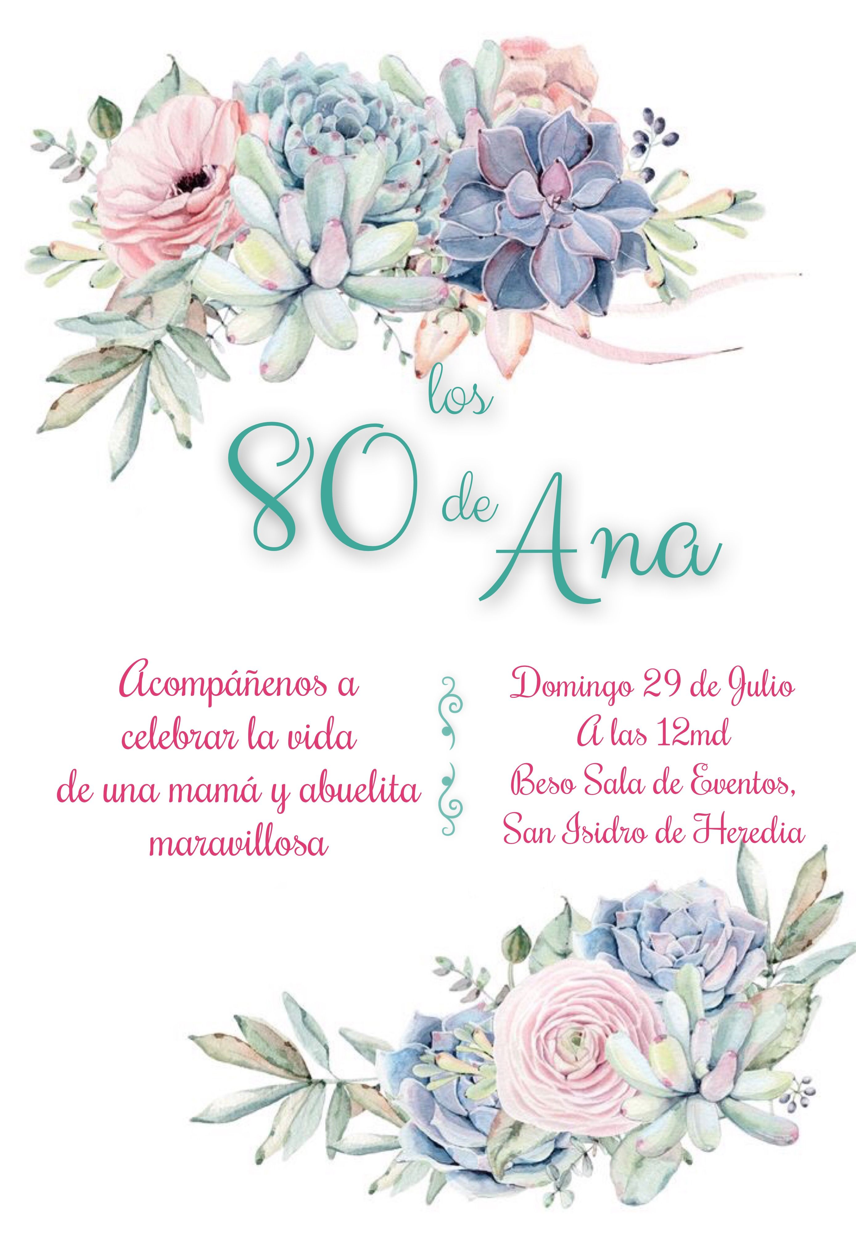 Invitación De 80 Años Tema Suculentas Suculentas Invitación
