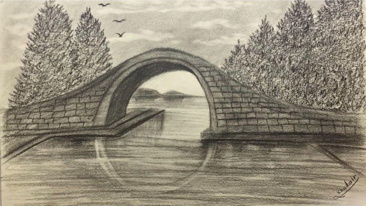 كيفية رسم منظر طبيعي جسر بالقلم الرصاص خطوة بخطوة Landscape Artwork Art