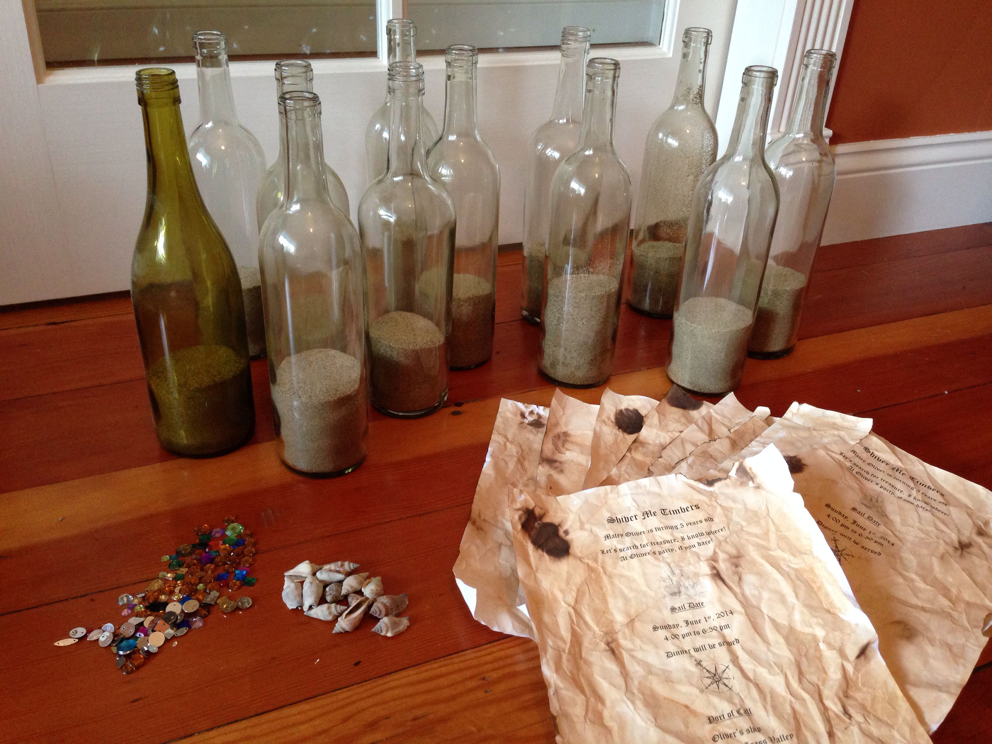 Materials for pirate party invitations: wine bottles (enjoy drinking ...