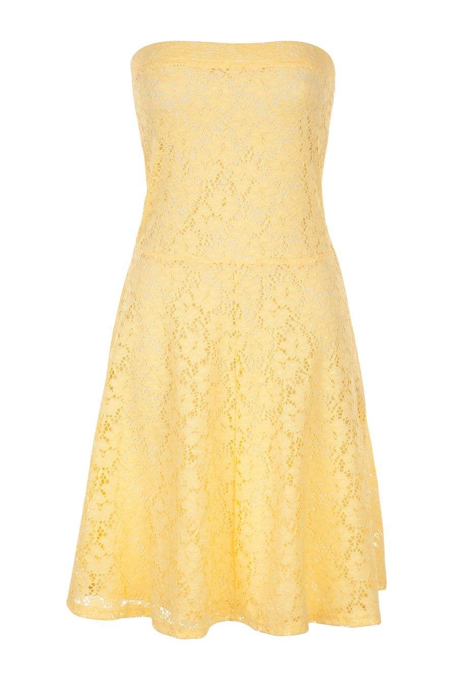 robe bustier en dentelle jaune jonquille naf naf. Black Bedroom Furniture Sets. Home Design Ideas