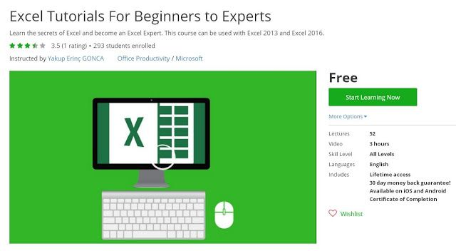 Coupon Udemy - Excel Tutorials For Beginners to Experts