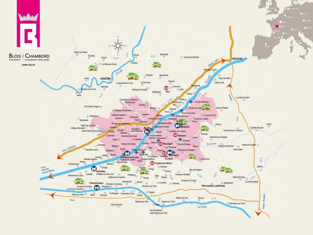 The Map Of Blois Chambord Area Site Officiel De L Office De Tourisme De Blois Chambord Porte D Entree Des Chateaux De La Loire Blois Chambord Map