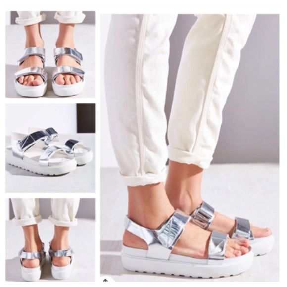 08aa850c6b Urban Outfitters Vagabond Leather Metallic Sandals Urban Outfitters  Vagabond Leather Irene Silver Strap Sandal. Strappy