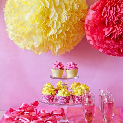 Planning A Wedding Or Baby Shower This Pink Yellow Display Would