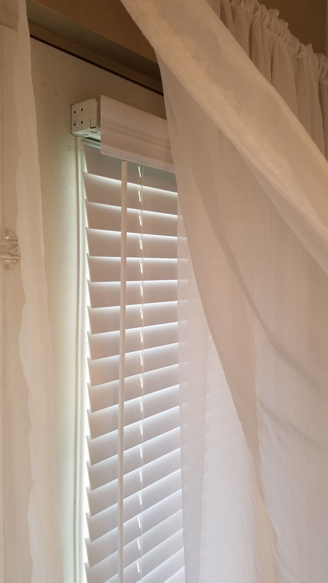 We Never Use This Door I Turned It Into A Window Shears And Rod By Amazon Com Blinds Com Measure As Directed Be Blinds Window Molding Blinds For Windows